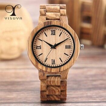 YISUYA Minimalist Full Wooden Watches Women Men Bamboo Wood Bracelet Fashion Creative Quartz Wristwatch Handmade Gift Clock Hour