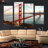 4 Panel Modern Printed London Cityscape Red Bridge Canvas Painting Cuadros Picture Wall Art For Bed
