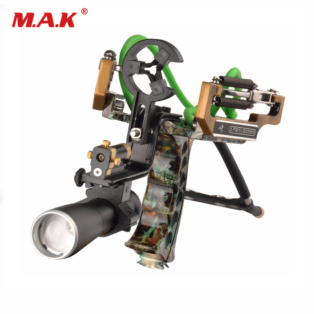Powerful Catapult Camo Slingshot Stainless Steel Aluminium Alloy Sling Shot with Clamp and Laser for Archery Hunting Shooting 1 pc hotselling stainless steel camo fierce power flashlight slingshot with beautiful appearance