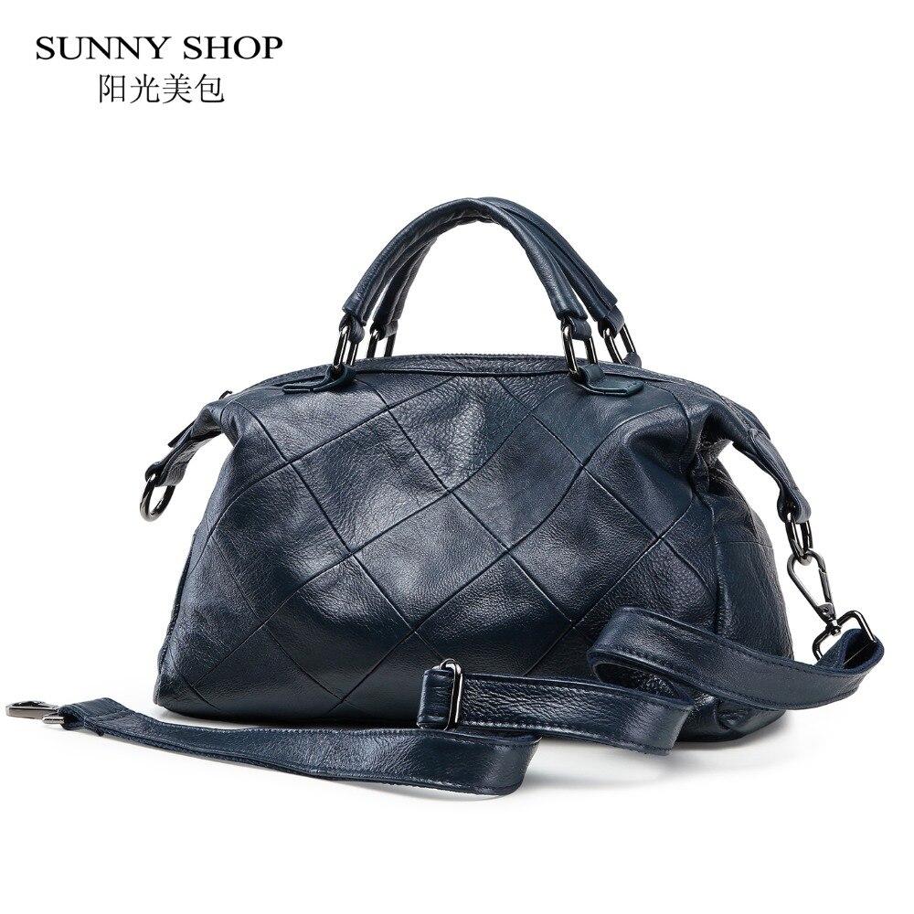SUNNY SHOP 100% Genuine Leather Women Bag Brand Designer Shoulder Bags For Women High Quality Plaid Cowhide Messenger Bags недорго, оригинальная цена