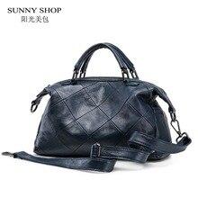 SUNNY SHOP 100% Genuine Leather Women Bag Brand Designer Shoulder Bags For Women  High Quality Plaid Cowhide Messenger Bags