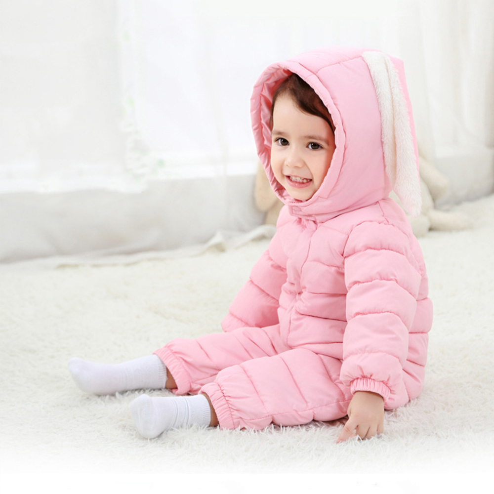 Newborn Baby Cotton Padded Romper Hooded Baby Girl Boy Warm Jumpsuit Rabbit Ear Infant Baby Rompers Toddler Outfit Baby Clothes newborn infant baby romper cute rabbit new born jumpsuit clothing girl boy baby bear clothes toddler romper costumes
