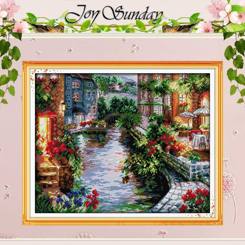 The Lakeside Houses Räkna Cross Stitch 11CT 14CT Cross Stitch Landskap Cross Stitch Kit för Broderi Home Decor Needlework