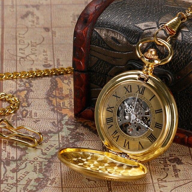 YISUYA Antique Golden Pendant Pocket Watch Vintage Automatic Watches Men Mechani