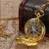 Luxury Golden Pendant Vintage Mens Womens Automatic Mechanical Pocket Watch Antique Stye Shield Steampunk Fob Chain
