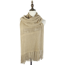 hollow out fashion women winter wraps shawls jacquard stoles capes with tassels elastic soft material luxury scarfs ladies