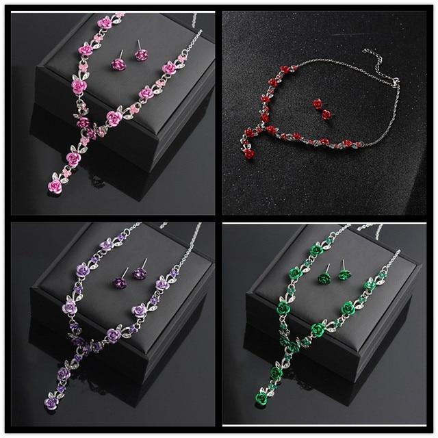 Red Rose Flower Jewelry Set 4