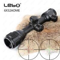 LEBO 6x32 AO Mil-Dot стекло травленая сетка компактный замок тактический оптический прицел винтовка область для охоты Riflescope Бесплатная доставка