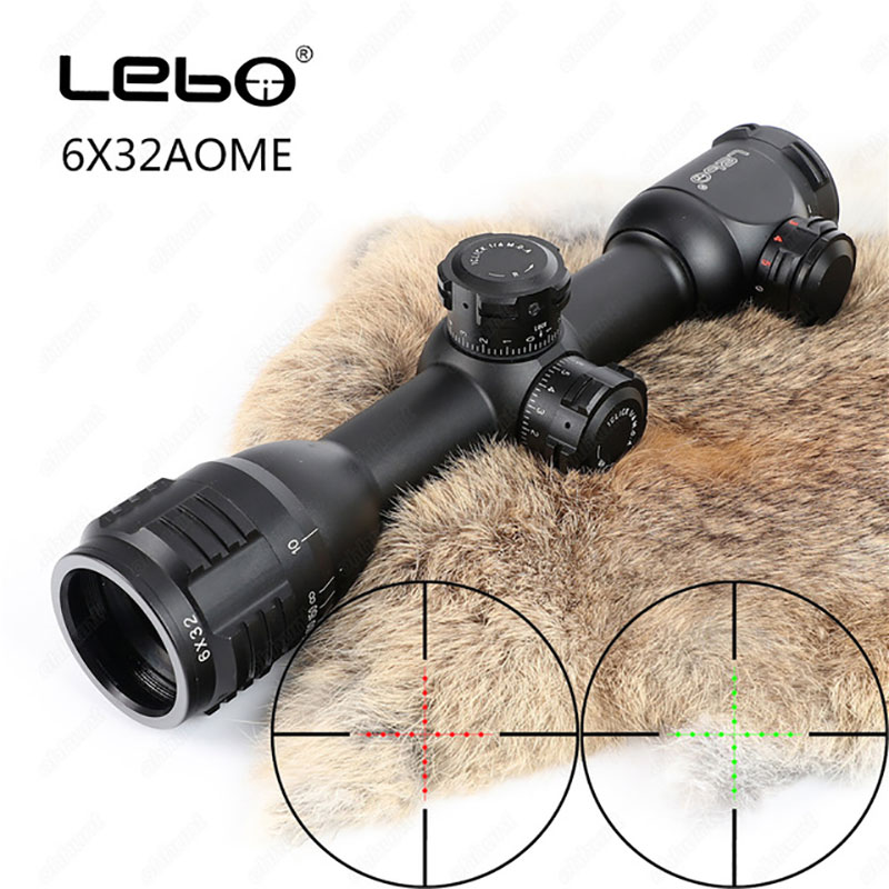 LEBO 6x32 AO Mil-Dot Glass Etched Reticle Compact Lock Tactical Optical Sight Rifle Scope For Hunting Riflescope Free Shipping