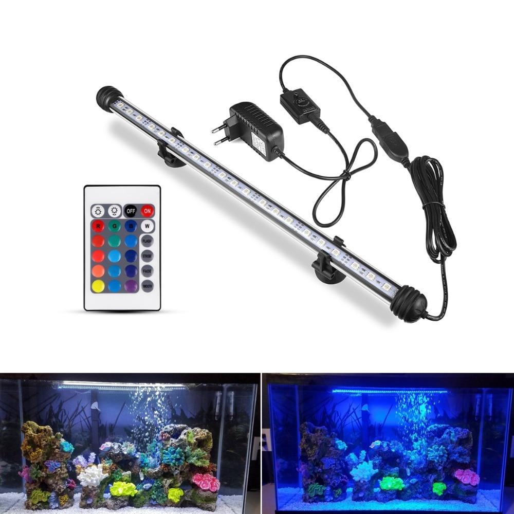 EU Plug RGB Remote Aquarium Light Fish Tank Waterproof 5050 SMD LED Light Bar Aquatic Lamp Submersible 19/ 29 / 39 / 49 CM
