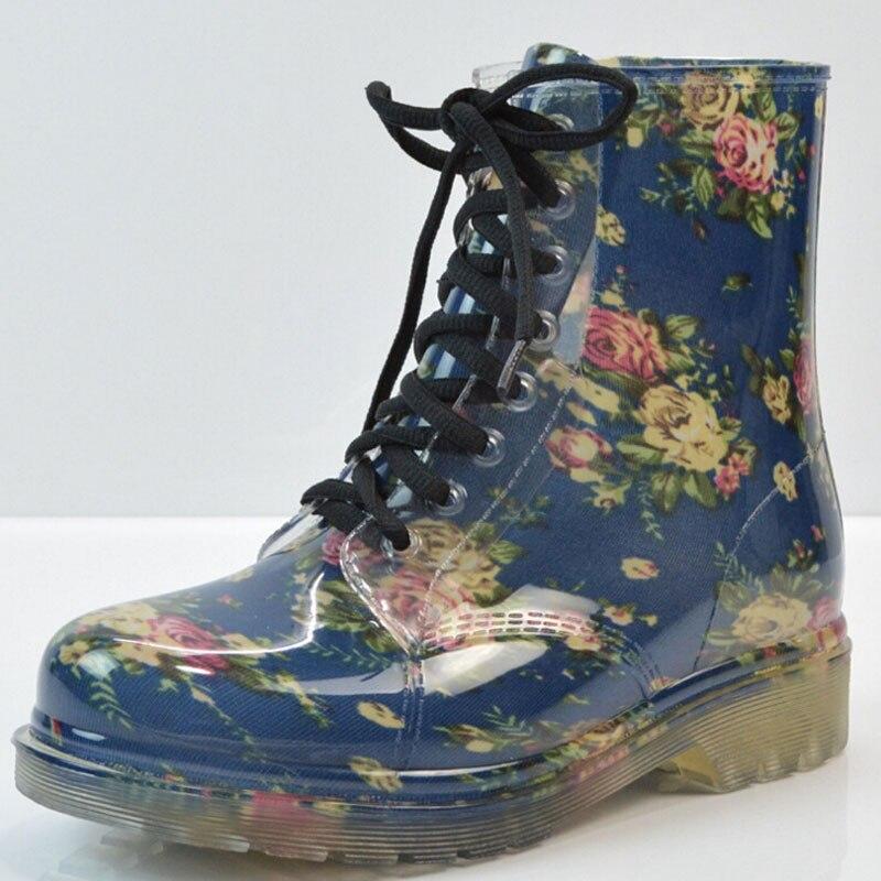 tangnest 2017 женщин дождя сапоги весна круглый носок резиновая обувь цветочные леопард, босоножки, ботильоны женщина большой размер 36-40 xwx2327