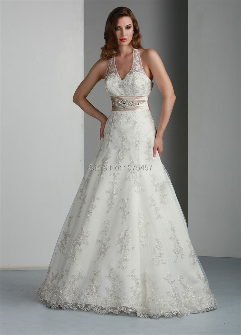 New arrival halter neck lace wedding dress with beaded sashes 2015 elegant ball gown bridal gown