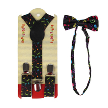 HUOBAO Fashion Multicolor Adjustable Toddlers Music Notes Print Suspender And Bow Ties Sets For Kids Boys стоимость