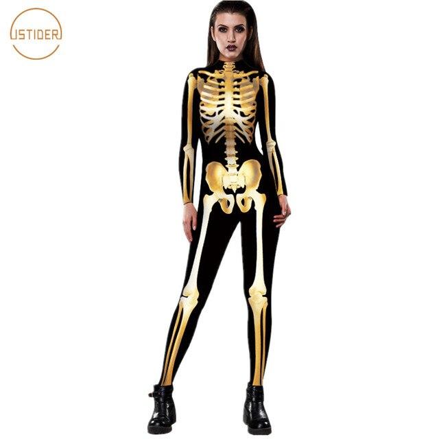 d447c44a3d30 ISTider New Adult Skeleton Skull Halloween Costume for Women 3D Gold Skeleton  Rompers Womens Jumpsuit Tight Slim Sexy Bodysuit
