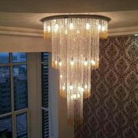 Modern Simple Creative Led Crystal Lamp Ceiling light Round living room crystal ceiling lights suspension lamp cord