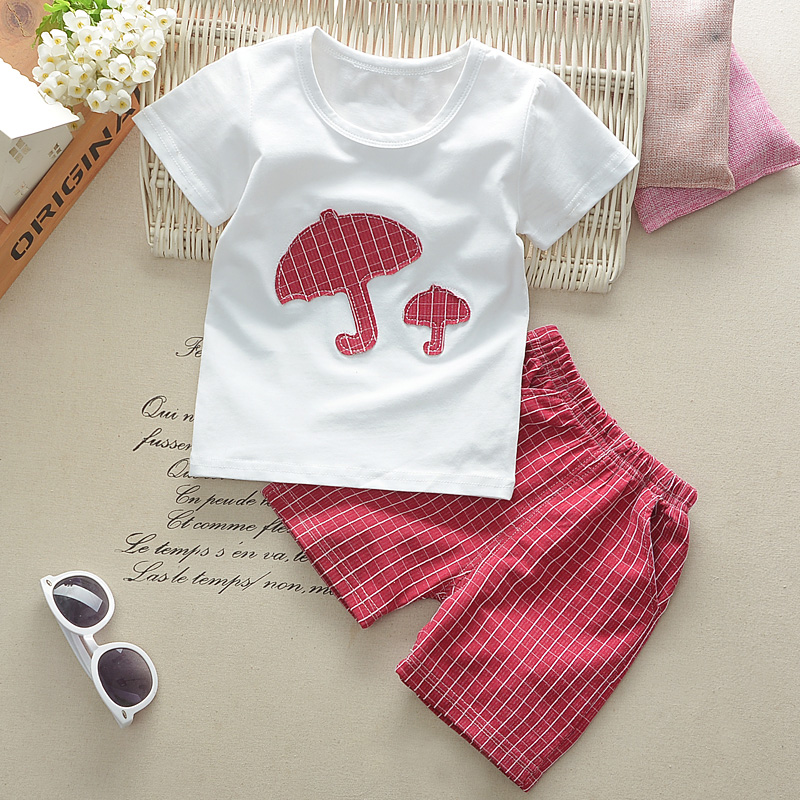Summner childrens clothing baby boys girls cloth sets short sleeve umbrella plaid pants sets two pieces child kid cloth suit