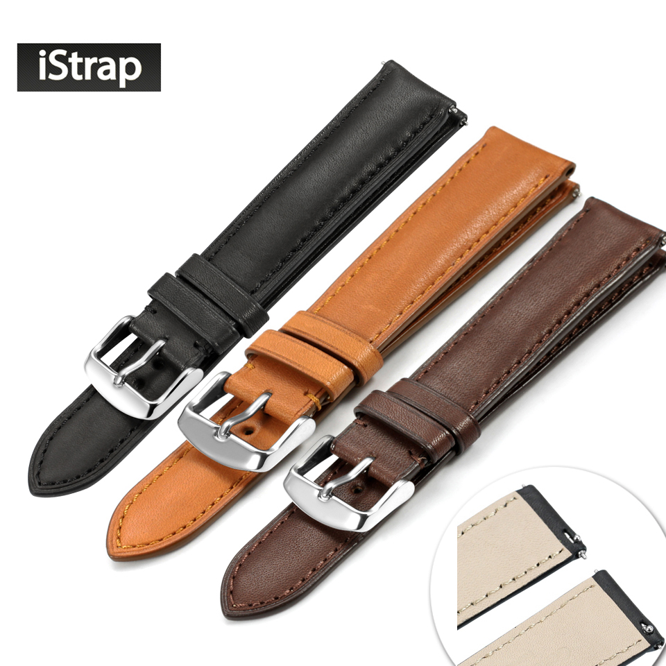 iStrap 18mm 19mm 20mm 21mm 22mm France Calf Leather Watch band Watch Strap with Quick Release Spring Bar For Omega Tissot Seiko istrap 22mm handmade genuine calf leather padded replacement watch band for men black 22