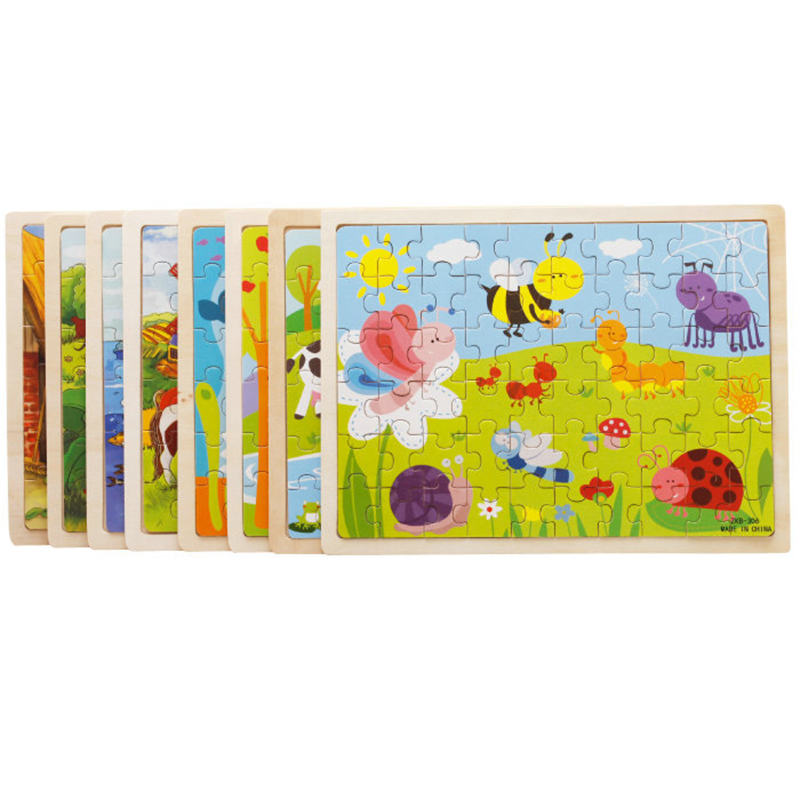 Image 2 - 60pcs Cartoon Wooden Toys 8 STYLES 3D Wooden Puzzle Jigsaw Puzzle for Child Educational Toy-in Puzzles from Toys & Hobbies