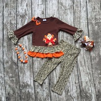 2016 girls Thanksgiving day clothing baby Fall outfits girls boutiques turkey Leopard ruffles pant with matching accessories