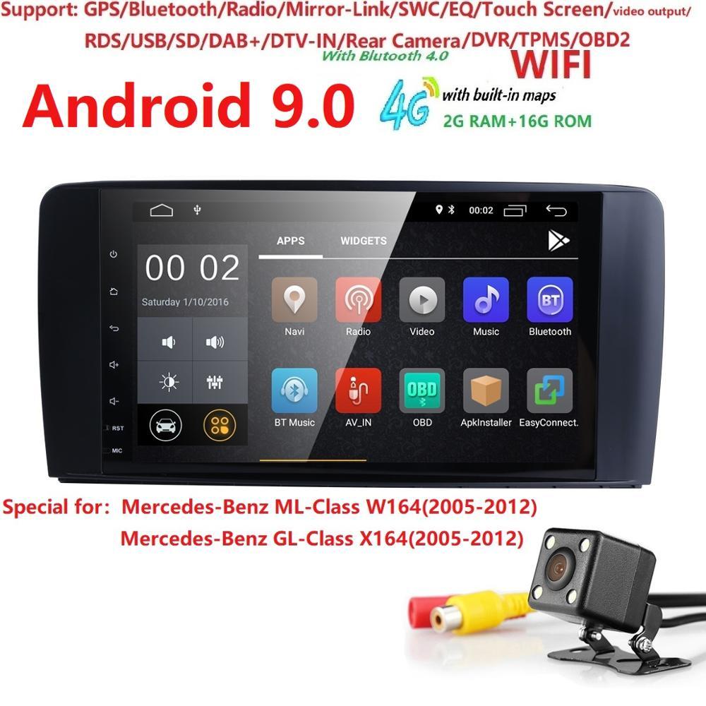Android 9.0 autoradio GPS lecteur multimédia pour Merdedes Benz ML-classe W164 GL-classe X164 ML/GL350 500 320 450 ML300 GL420 DAB +