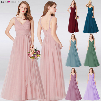 Prom Long Elegant Dresses Ever Pretty EP07303 V-neck Sleeveless A-line Tulle Teal Prom Dresses 2020 Pink Sexy Vestido Formatura 3