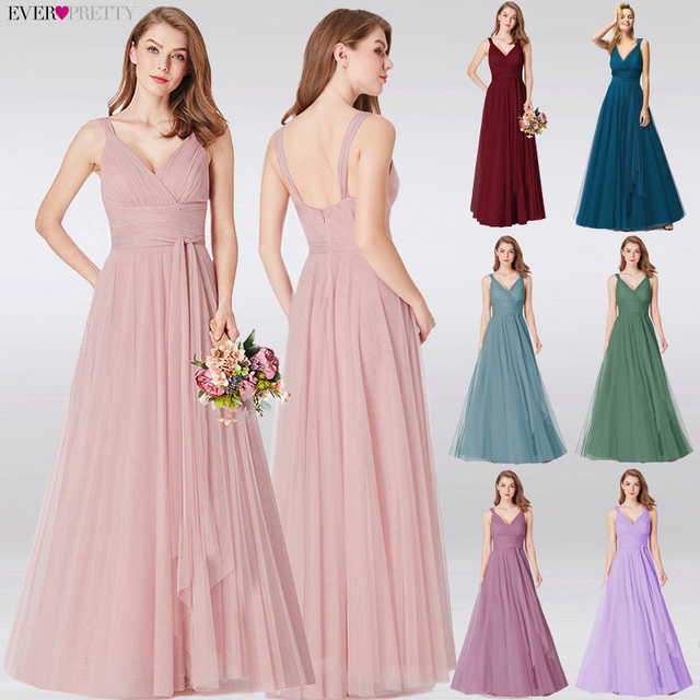 Prom Long Elegant Dresses Ever Pretty EP07303 V-neck Sleeveless A-line Tulle Teal Prom Dresses 2019 Pink Sexy Vestido Formatura 1
