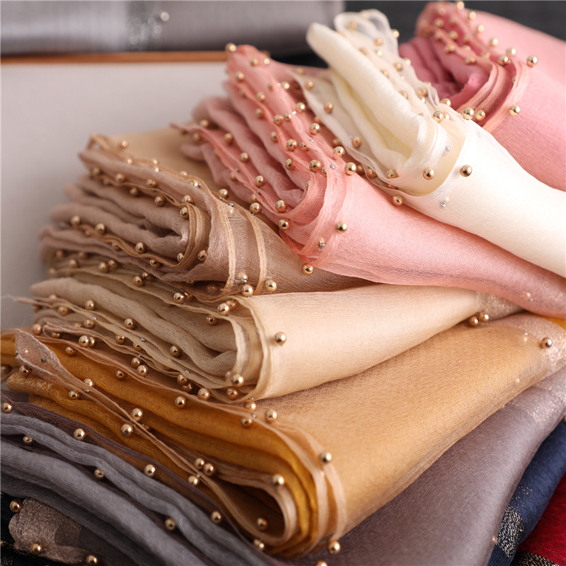 Designer brand women   scarf   luxury summer silk   scarves   lady shawl   wrap   hijab foulard female bandana pashmina Pearl jewel headband