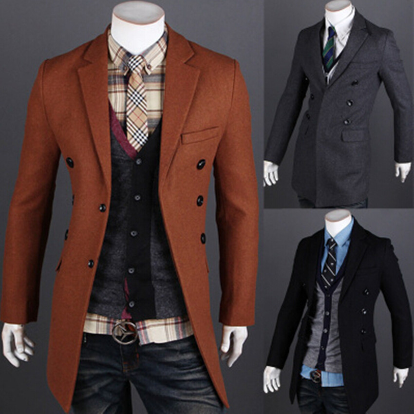 2015 Fashion Brand Winter Jackets And Coats Mens Double Breasted ...
