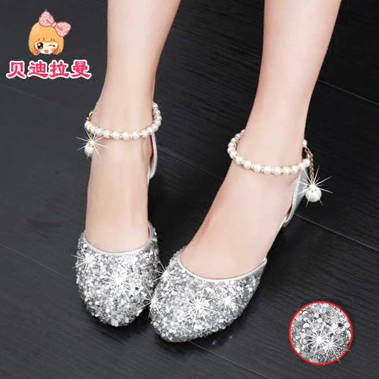 4551a3e640e Girl s sandals 2018 new children s fashion bag head crystal shoes big boy  silver show children s high