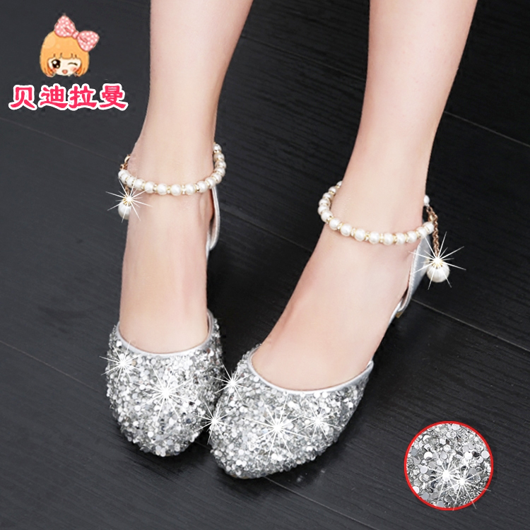 Girls sandals 2018 new childrens fashion bag head crystal shoes big boy silver show childrens high heel princess shoes
