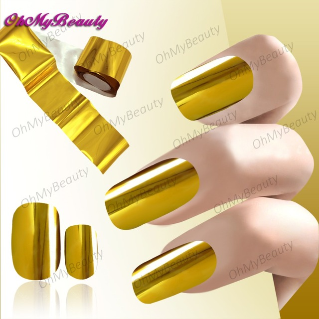 1 Roll Gold Nail Sticker Transfer Foil Decals Wraps French Manicure Golden Color