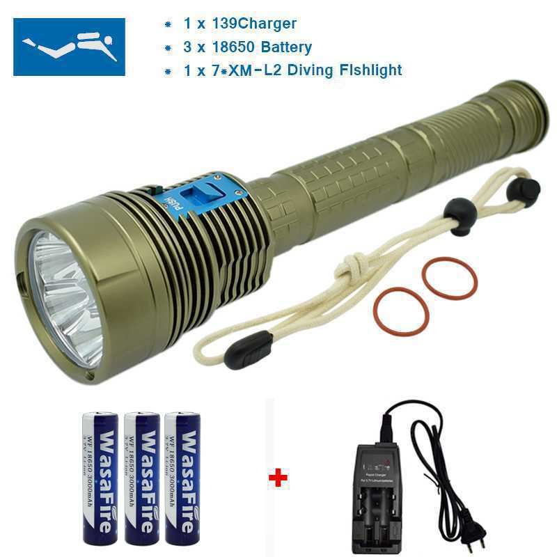 70W 7* XM-L2 LED Diving Flashlight Torch 18000 Lumen 100M Underwater Waterproof LED Flash Light Lantern+ 18650 Battery+ Charger high professional 6000lm underwater diving flashlight xm l t6 led waterproof dive torch 3t6 led flash light by 18650 battery