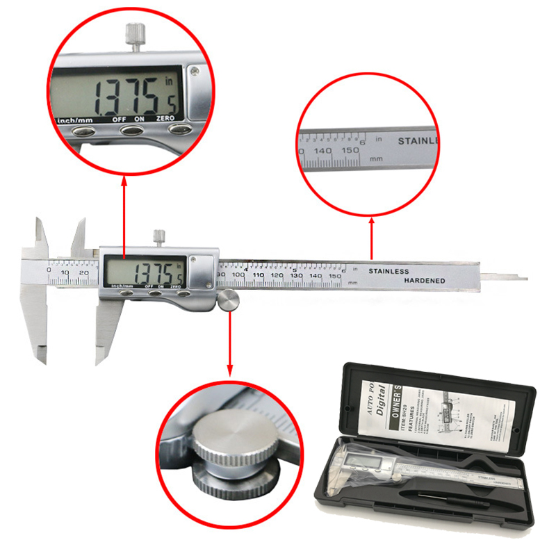 Metal 6 Inch 150mm Stainless Steel Electronic Digital Vernier Caliper Micrometer Measuring