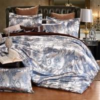 Hot sell Jacquard Bedlinen Queen King Size Duvet cover Set Silk and Cotton Bedding Sets Blue camelColour