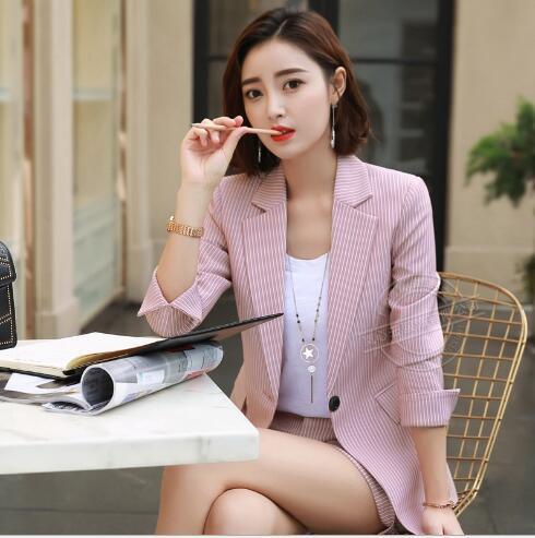 2018 Mode Neue Beruf Frauen Pant Anzug Gestreiften Blazer Und Rock Zwei Stück Frauen Elegante Kleidung Rosa Und Grau