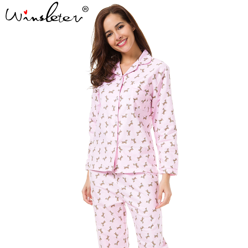 2018 Pink   Pajama     Sets   Women Cute Dachshund Print 2 Pieces   Set   Long Sleeve Top Elastic Waist Pants Brushed Cotton pyjamas S7N002