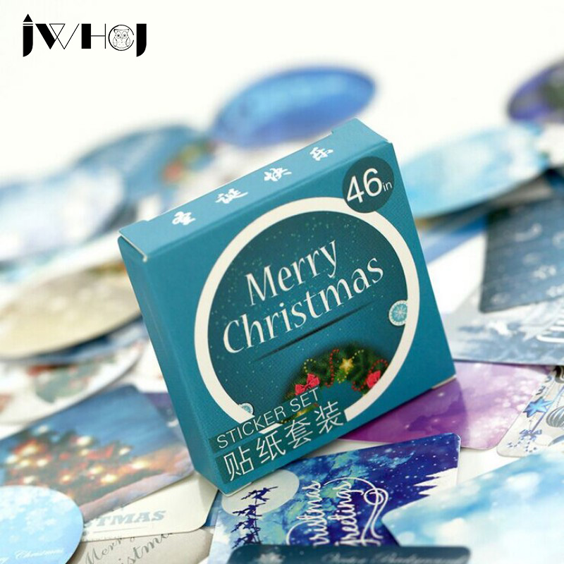 46 pcs/box JWHCJ Merry Christmas paper sticker decoration DIY diary scrapbooking sealing sticker children's favorite stationery 50 pcs bag santa claus christmas stickers paper sticker decoration diy scrapbooking sticker children s favorite stationery