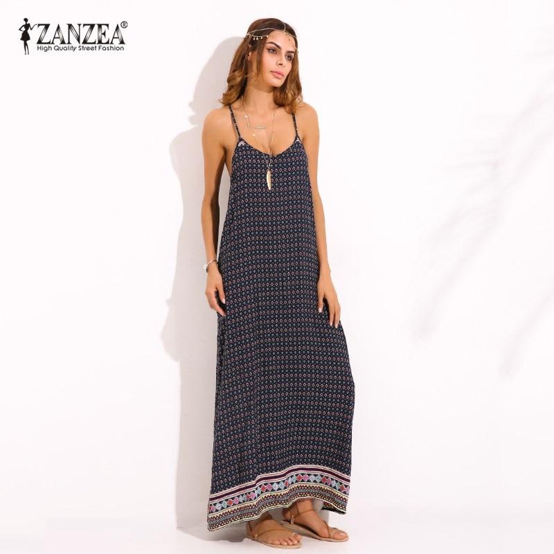 Boho ZANZEA Womens Summer V Neck Sexy Sleeveless Spaghetti Strap Floral Print Backless Summer Beach Maxi Long Dress Plus Size