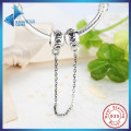 Hot Sell 925 Sterling Silver Love Connection Safety Chain Charm Fit  Bracelet Heart Shaped Sterling Silver Jewelry