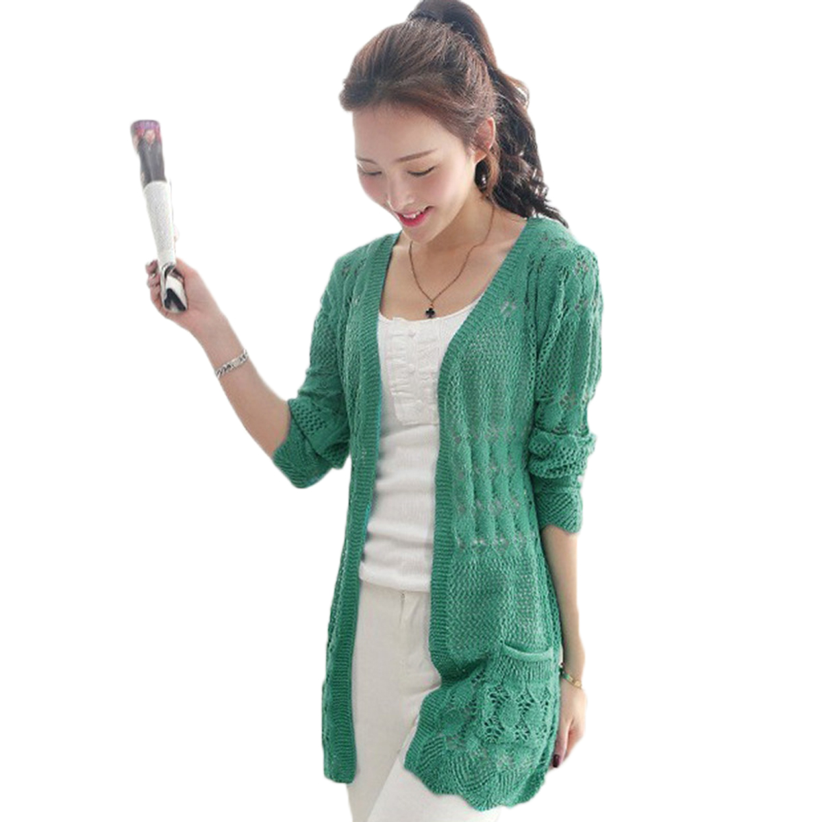 9287bff723f5 2017 Ladies Crochet Tops Fashion Women Beach Cardigan Spring Summer Hollow  Out Knitted Sweaters Size Rebecas Mujer-in Cardigans from Women's Clothing  ...