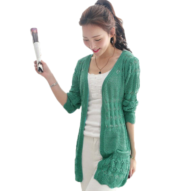 2017 Ladies Crochet Tops Fashion Women Beach Cardigan Spring Summer Hollow Out Knitted Sweaters  Size Rebecas Mujer