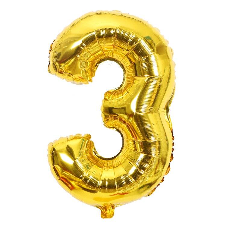 Золотой Серебряный 32 дюйма 0-9 большой гелиевый цифровой воздушный шар фольги Детский праздник день рождения вечеринка для детей мультфильм шляпа игрушки - Цвет: gold 3