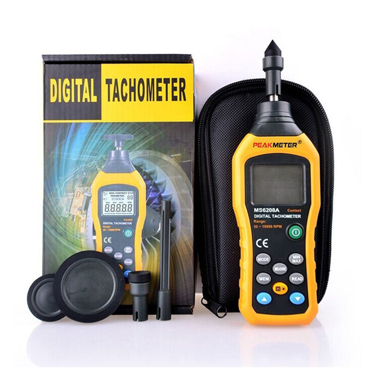 ФОТО MS6208A Contact-type Digital Tachometer Meter High Performance revolution meter 50-19999RPM MAX