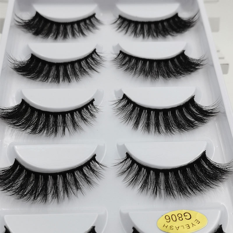 5 Pairs 3D Eyelashes Mink False Eyelashes Handmade Wispy Fluffy Natural Long Lashes Dramatic Makeup Eye Lashes Cilios Mink Tools
