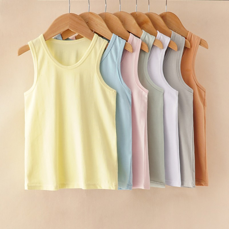 Baby Shirt Tops Girl Super-Comfortable Cotton Summer Solid Vest