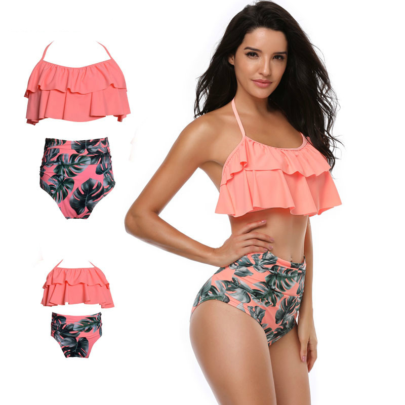 Family Swimwear Matching Mother And Daughter Swimsuit Family Clothing Bathing Swimsuit Bikini Mother Girl Swimming Clothes mother daughter matching swimsuits family look mom and daughter swimwear floral ruffle family matching bathing suits clothes