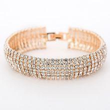 f5e8d68a4904 Luxus Breite Glitter Kristall Armbänder Armreifen Vintage Gold Silber  Armband Für Frauen Hochzeit Hot Geschenk Für Frauen Mädche.