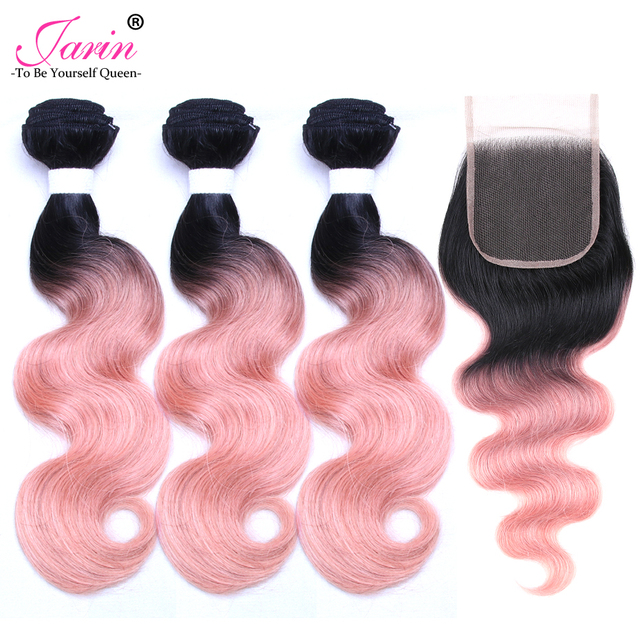 Brazilian Body Wave Hair Extension 3 Bundles With Closure Ombre 1b