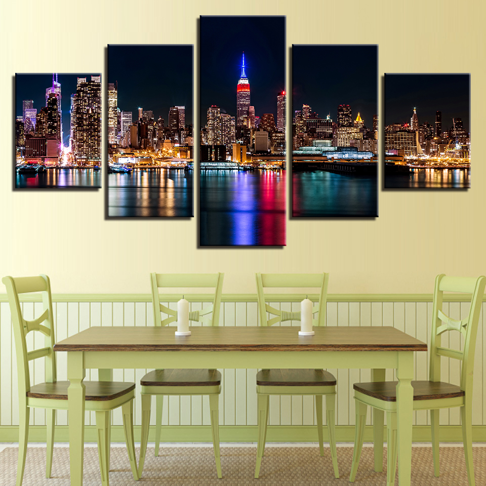 Canvas HD Prints Posters Living Room Wall Art 5 Pieces New York City ...