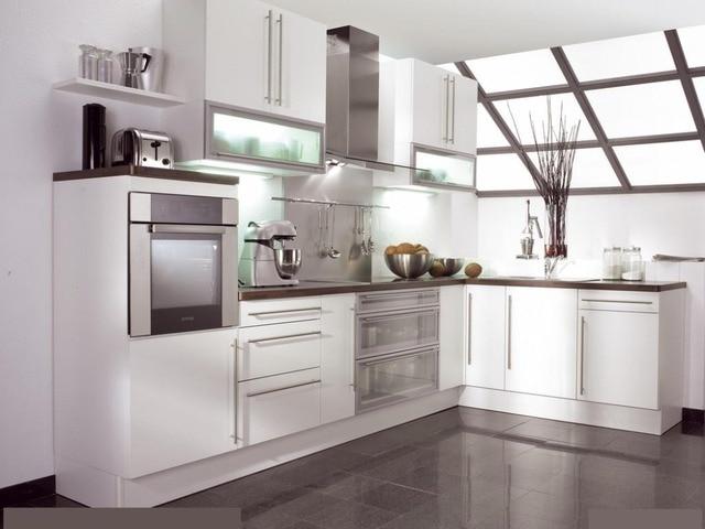 US $458.0  L shape lacca armadio da cucina moderna cucina mobili in L-shape  lacca armadio da cucina moderna cucina mobilida Mobili da cucina su ...